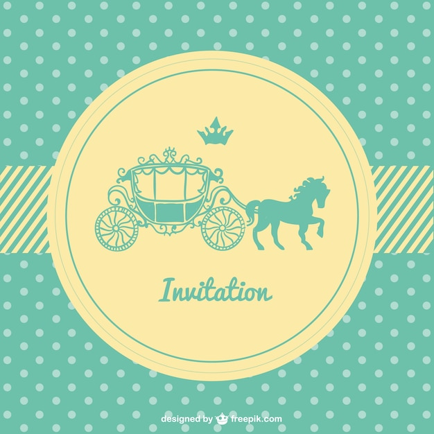 Retro Polka Dots Wedding Card Vector Free Download