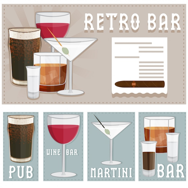 Retro poster of bar with glasses of different drinks Premium Vector