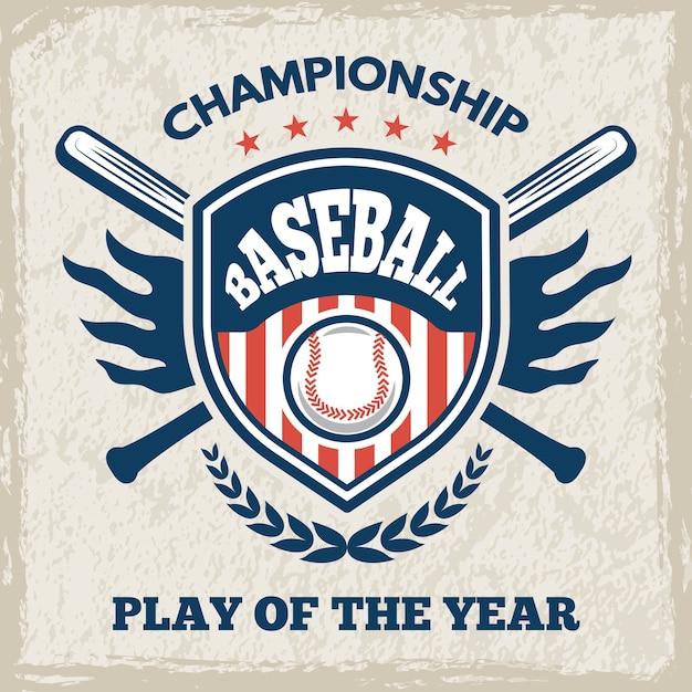 야구 클럽에 대한 레트로 포스터. 스타일의 스포츠 상징. 야구 엠블럼 클럽, 토너먼트 일러스트레이션을위한 스포츠 게임 로고 프리미엄 벡터