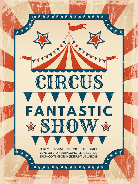 Retro poster. invitation for circus magic show Premium Vector