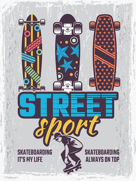 Retro poster with illustrations of colored skateboards Premium Vector