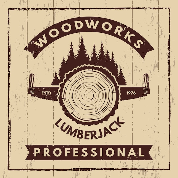 Retro poster with monochrome symbols of sawmill and woodcutter Premium Vector