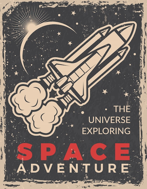 Retro poster with space shuttle. Premium Vector