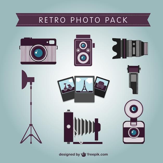Retro professional photographer pack Free Vector