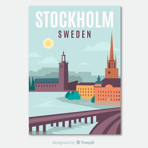 Retro promotional flyer of stockholm template Premium Vector