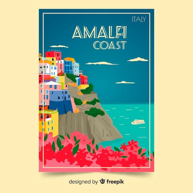 Retro promotional poster of amalfi coast Free Vector