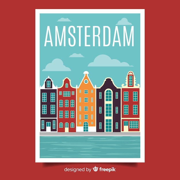 Retro promotional poster of amsterdam Free Vector