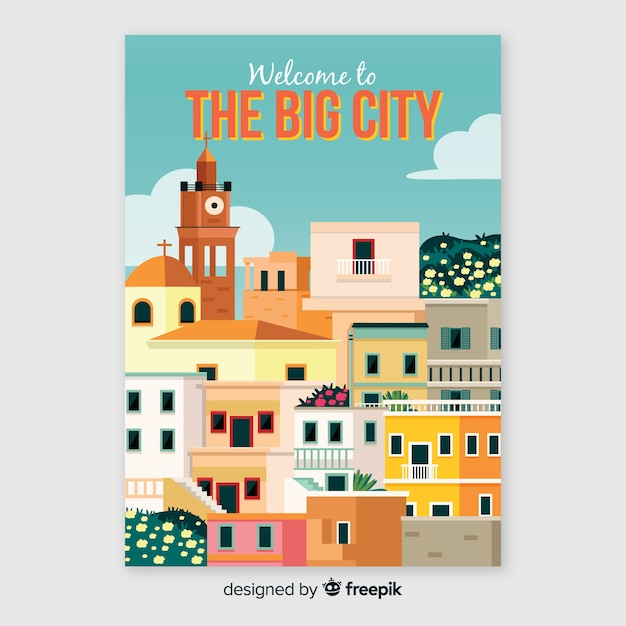 Retro promotional poster of the big city Free Vector