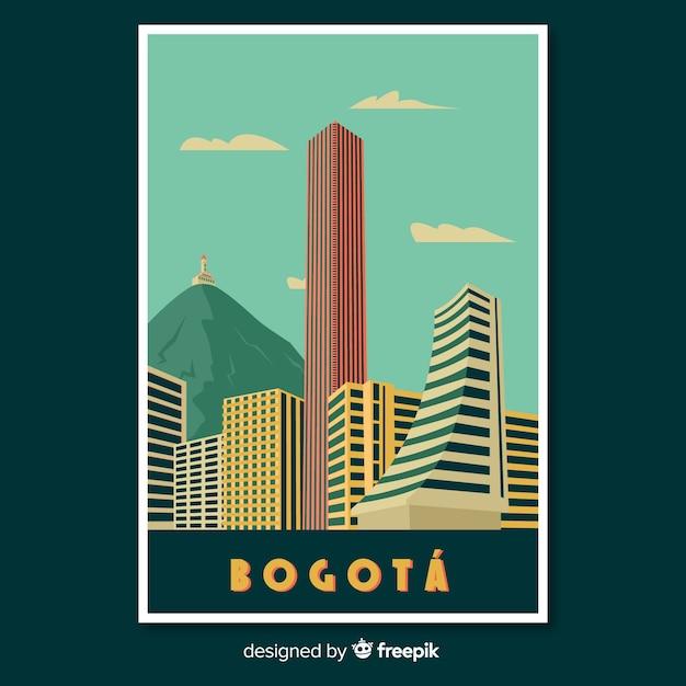 Retro promotional poster of bogota Free Vector