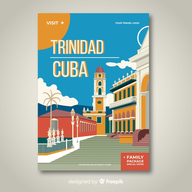 Retro promotional poster of a city template Free Vector