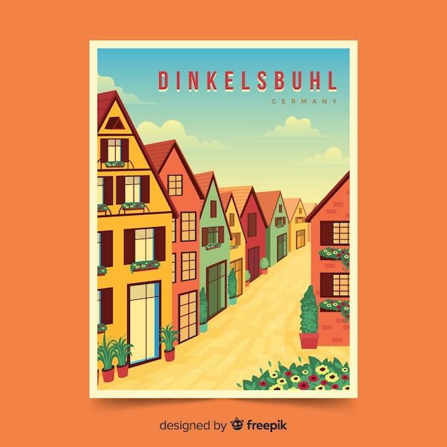 Retro promotional poster of dinkelsbuhl Free Vector
