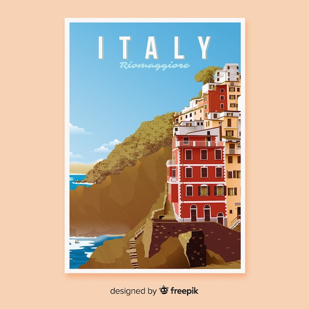 Retro promotional poster of italy Free Vector