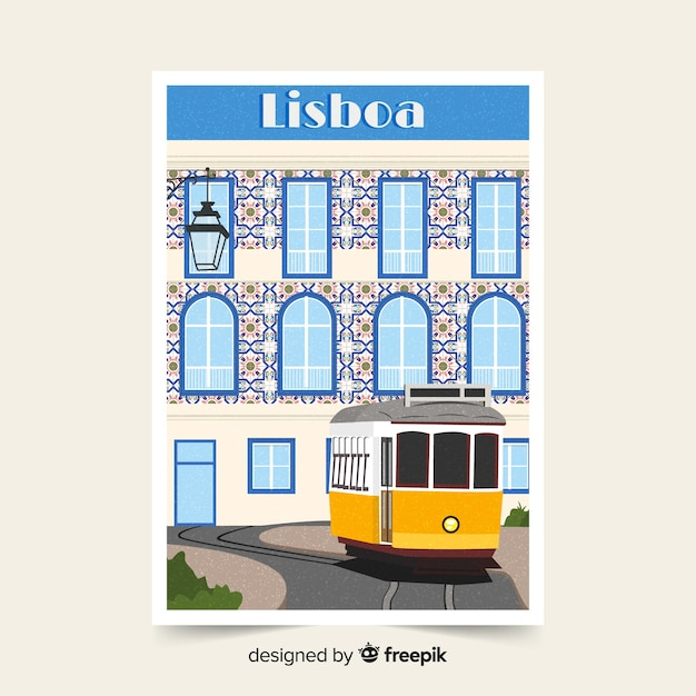 Retro promotional poster of lisbon Free Vector