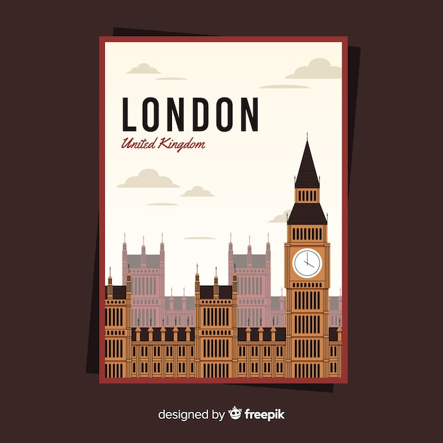Retro promotional poster of london Free Vector