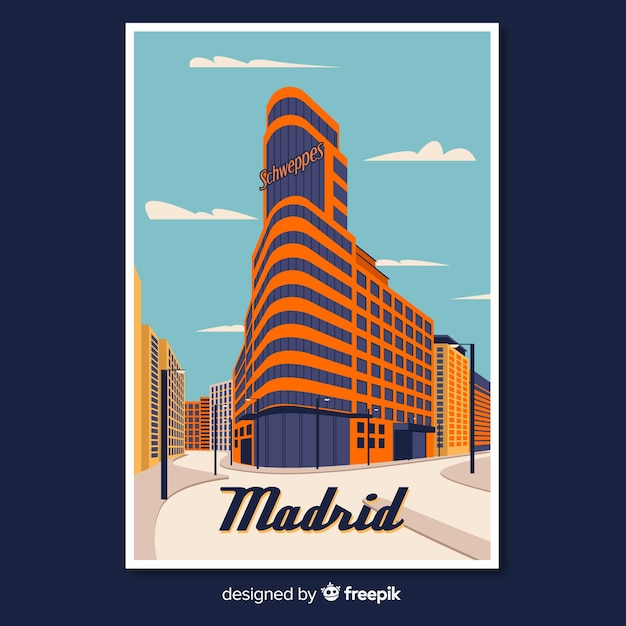 Retro promotional poster of madrid Free Vector