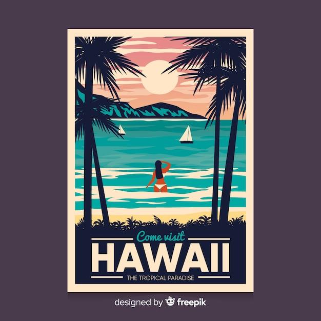 Ретро рекламный плакат шаблона гавайи Бесплатные векторы