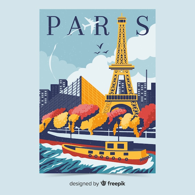 Retro promotional poster of paris template Free Vector