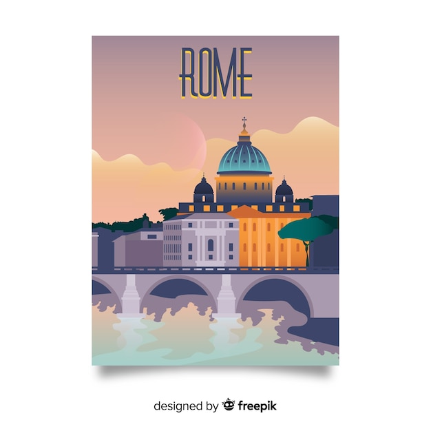 Retro promotional poster of rome template Free Vector