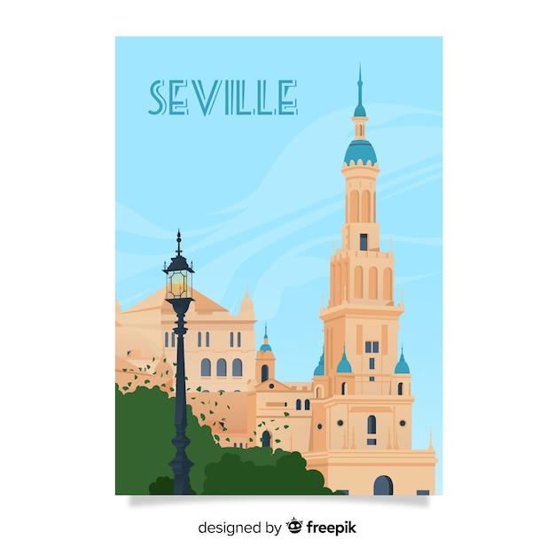 Retro promotional poster of seville Free Vector