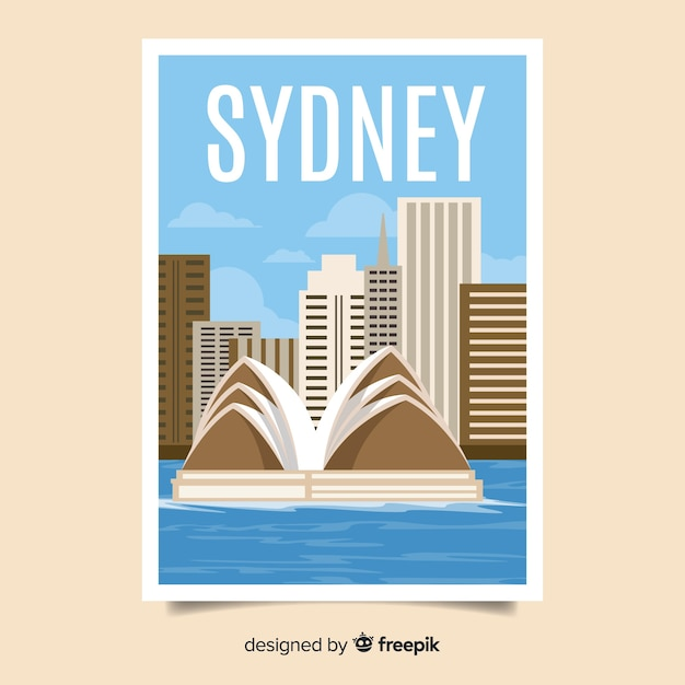 Retro promotional poster of sydney Free Vector