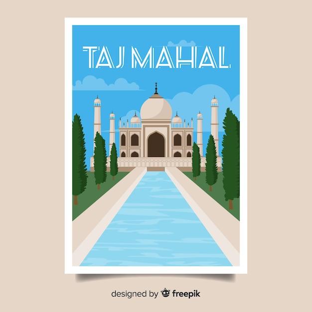 Retro promotional poster of taj mahal Free Vector