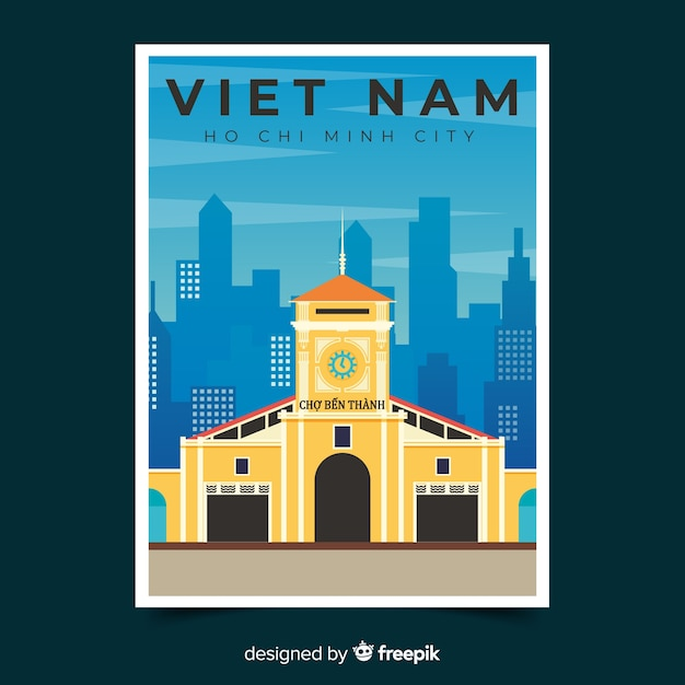Retro promotional poster template of vietnam Free Vector