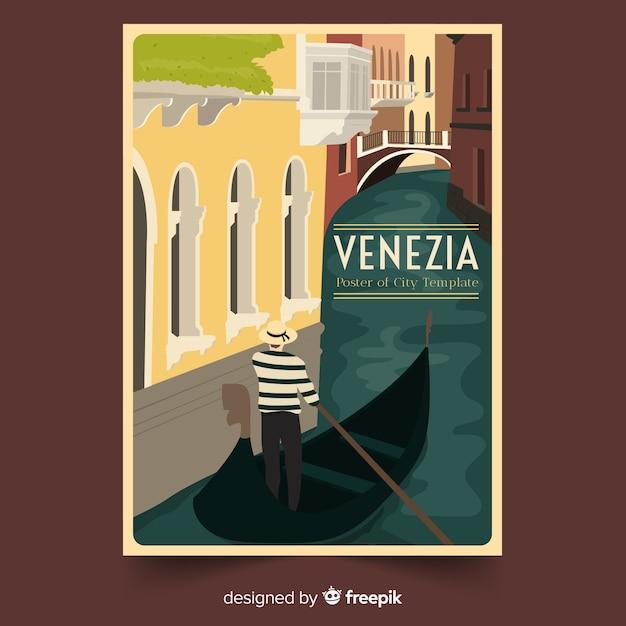 Retro promotional poster of venezia Free Vector