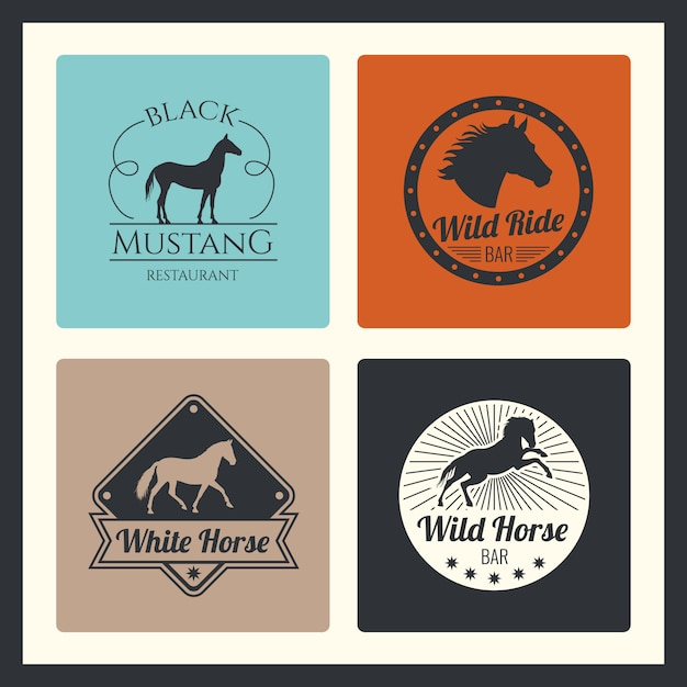 Retro racing horse, running mare logo set Premium Vector