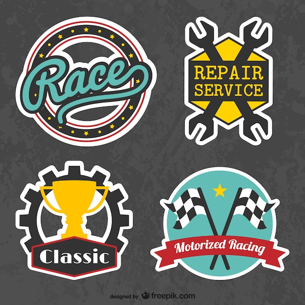 Retro racing stickers Free Vector