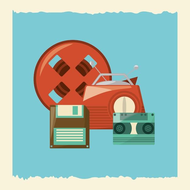 レトロなラジオや青い背景の上にある他のオブジェクト Premiumベクター