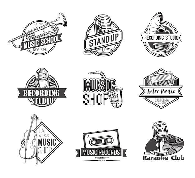 Ретро радио лейбл логотипы студии звукозаписи встают значок и эмблемы музыкального магазина Premium векторы
