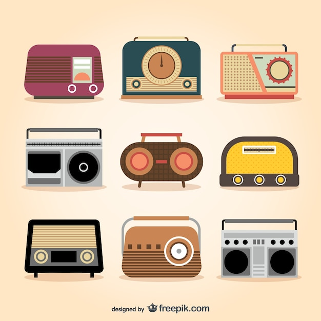 Retro radio sets Free Vector