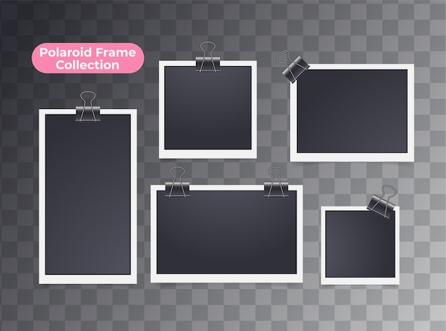Retro realistic blank instant polaroid photo isolated Premium Vector