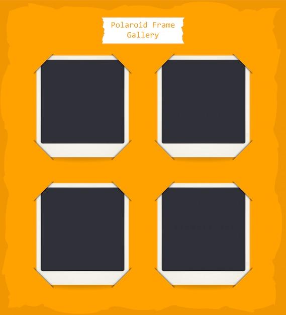 Retro realistic blank instant polaroid photo set Premium Vector