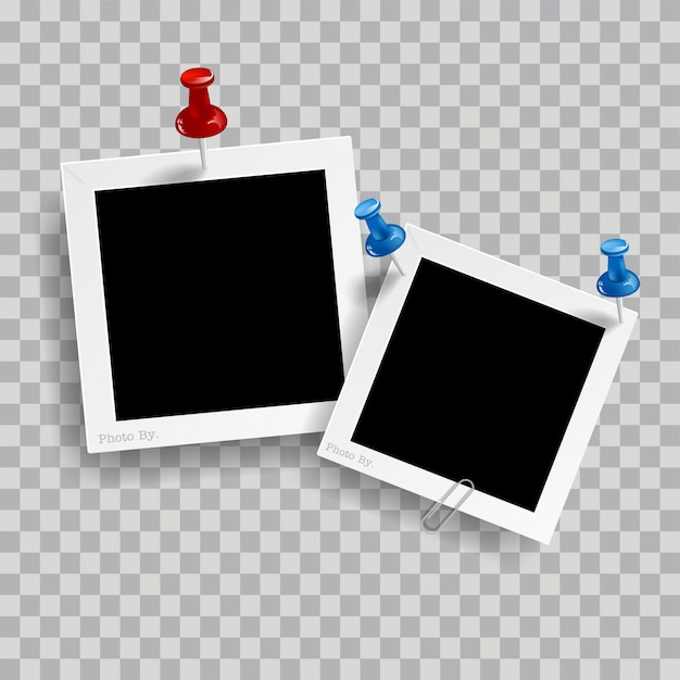 Retro realistic photo frame with paper clip isolated on transparent background Premium Vector