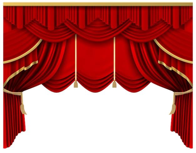 レトロな赤いステージカーテン。現実的な豪華なシルクのカーテン、劇場シーンのインテリアのカーテンの装飾、portiereのカーテンのイラスト。プレミアセレモニー、映画館のエンターテイメント Premiumベクター