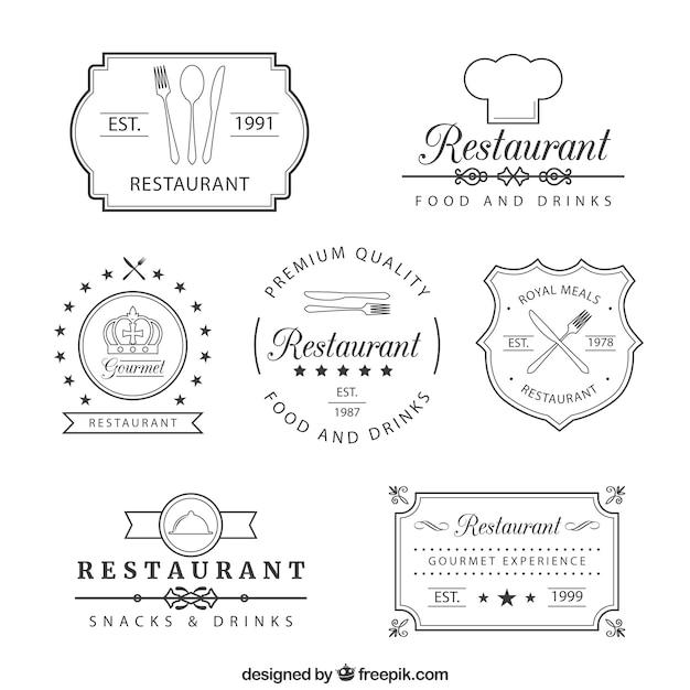 Retro restaurant insignias Free Vector