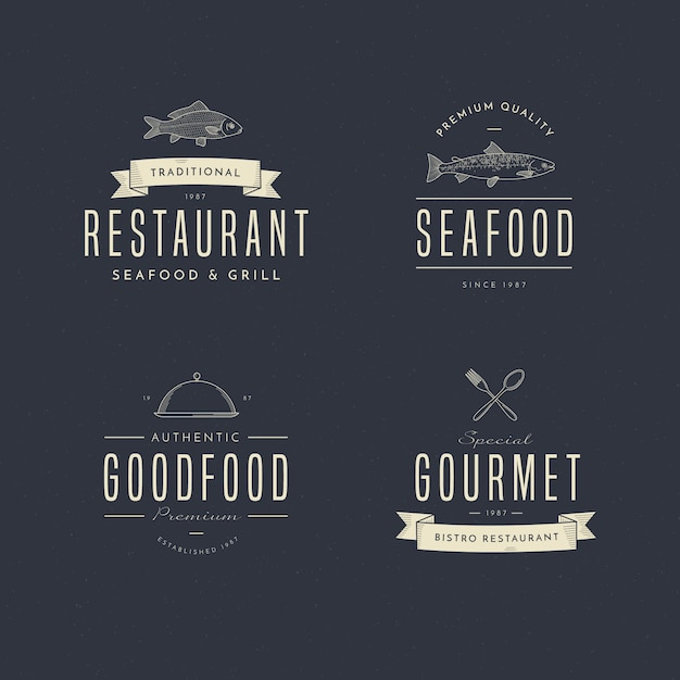 Retro restaurant logo collection Premium Vector