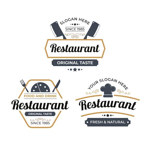 Retro restaurant logo illustration collection Free Vector