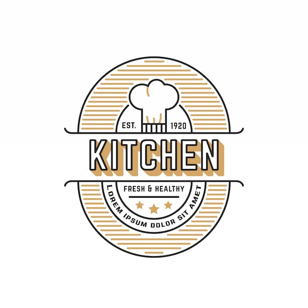 Retro restaurant logo template Premium Vector