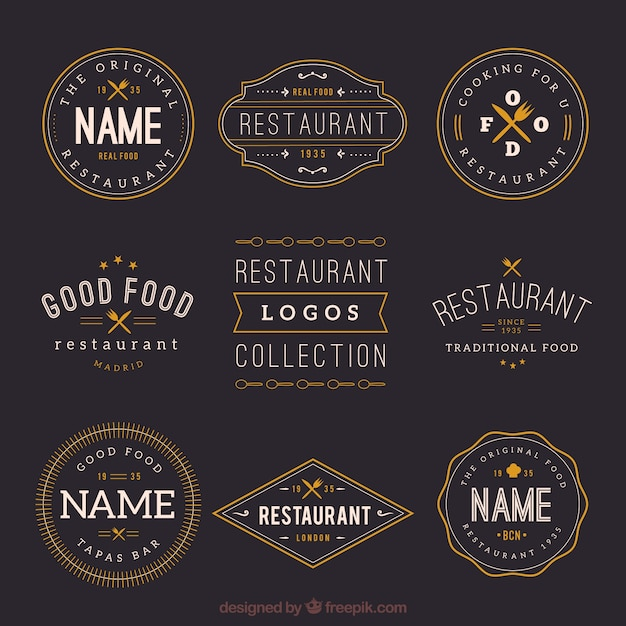 Retro Restaurant Logos Collection Free Vector