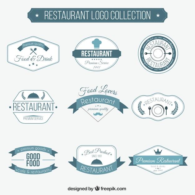 retro restaurant logos collection vector free download
