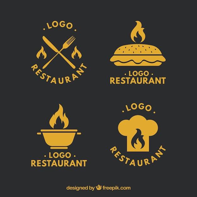 Retro restaurant logos set