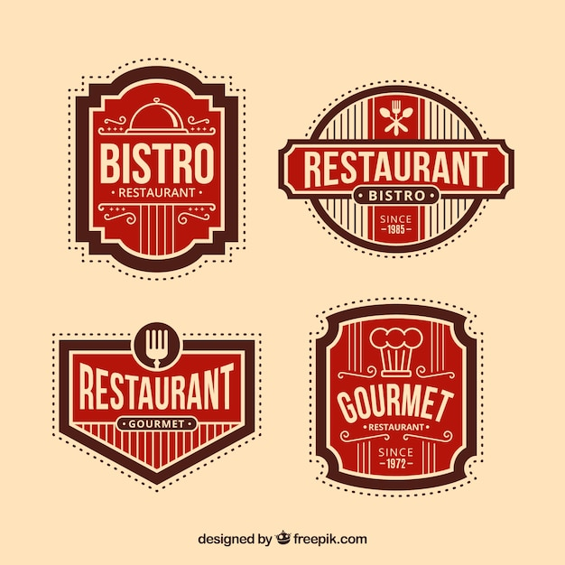 Retro restaurant logos with badge design Free Vector