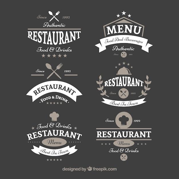 Retro restaurant logos with ribbons