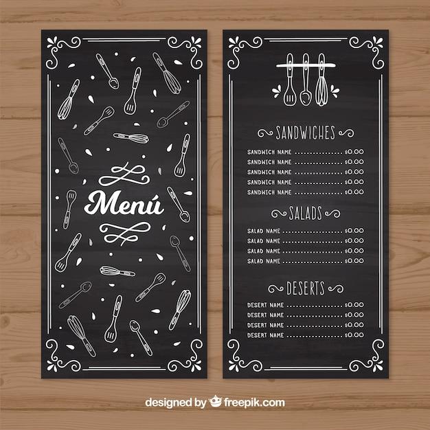Retro restaurant menu with sketches