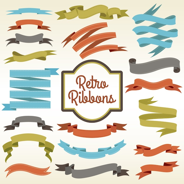 Retro ribbons cuttings composition poster Free Vector