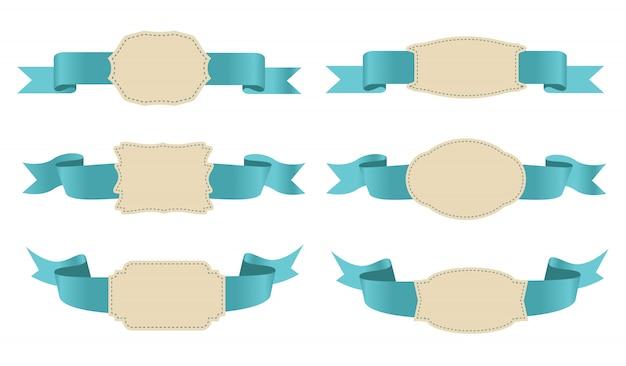 Retro ribbons and labels Premium Vector