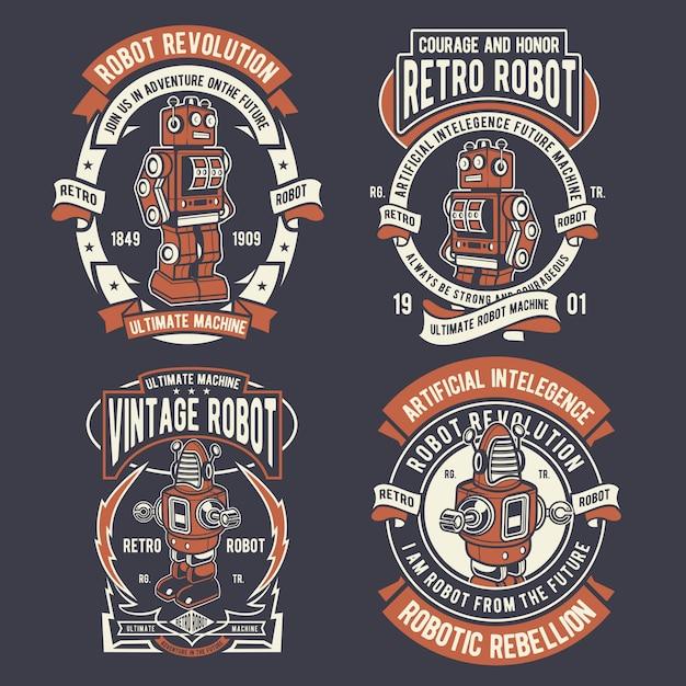 Retro robot badge Premium Vector