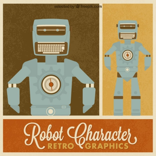 retro robot character vector free download